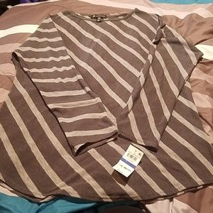 Dark and light gray stripped top